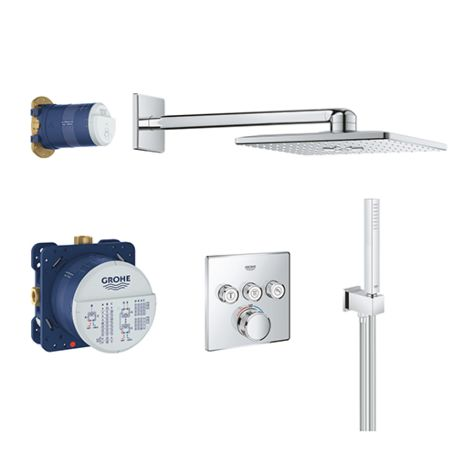 Grohe Grohtherm Smartcontrol 34706000 shower system, concealed thermostat, head and hand shower