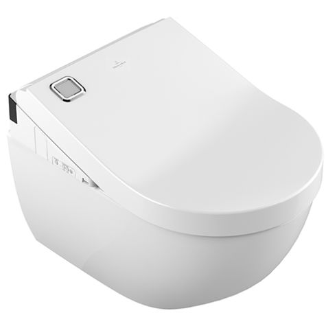 Villeroy & Boch ViClean U+ Dusch-WC 5614E8R1 weiß, CeramicPlus, Combi-Pack, mit Dusch-WC-Sitz