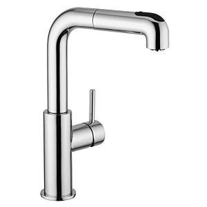 Herzbach Design new Küchenarmatur 10.136150.1.01 chrom, Ausladung 19 cm, Brausekopf ausziehbar