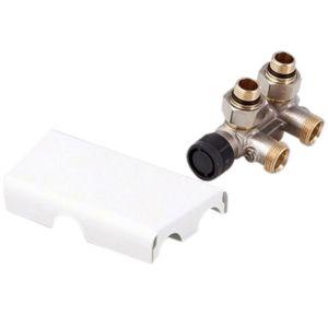 Zehnder Anschluss-Armatur 8200976021 Blende kurz, weiss, für Warmwasserbetrieb