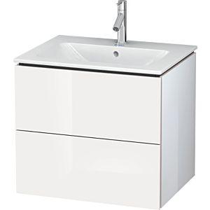 Duravit L-Cube Waschtischunterbau LC624002222 Weiß Hochglanz, 62x55,5x48,1cm, 2 Schubladen