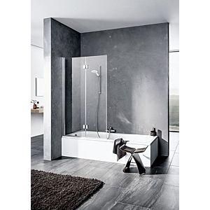 Kermi Liga Badewannen-Faltwand LI2PL100151PK 100x150cm, silber mattglanz, ESG klar Clean, links