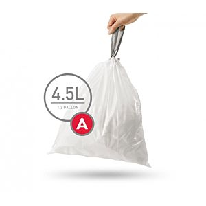 simplehuman Müllbeutel CW0160 30 Stück, für Abfalleimer, passgenau, 4,5 l