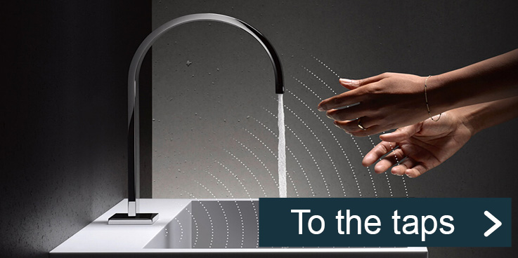 Touchless infrared bathroom taps for more hygiene.